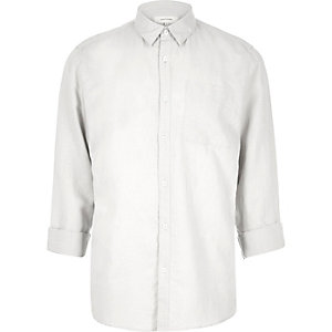Light grey linen-rich shirt