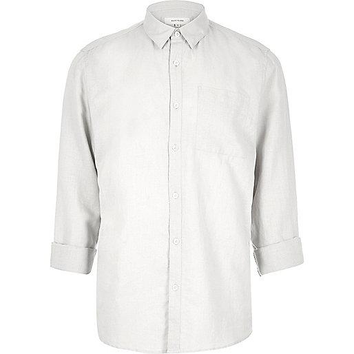 Hellgraues Hemd mit Leinenanteil