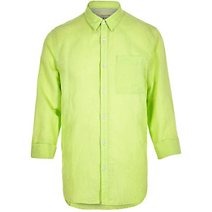 Neon green linen-rich shirt