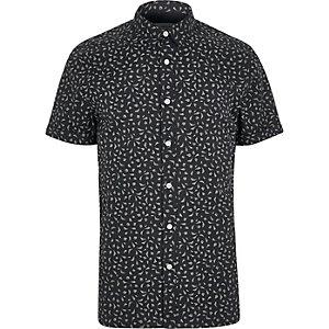 Navy print short sleeve slim fit shirt