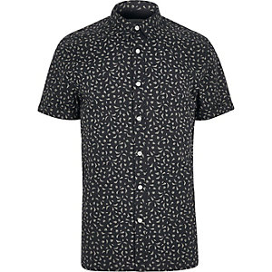 Navy print short sleeve slim fit shirt