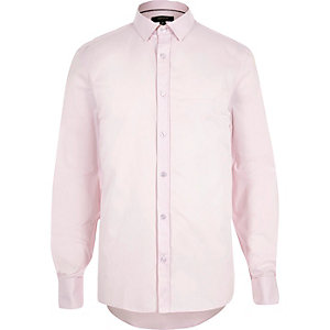Light pink double cuff slim fit shirt