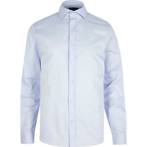Light blue cutaway collar slim fit shirt