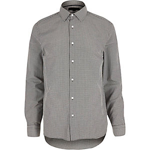 Grey gingham slim fit shirt
