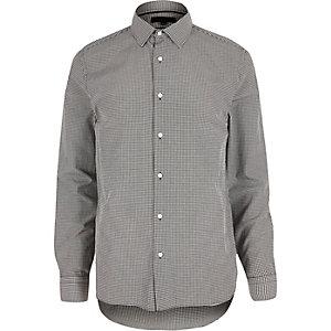 Grey gingham slim fit shirt