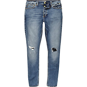 Mid blue wash ripped Eddy skinny jeans