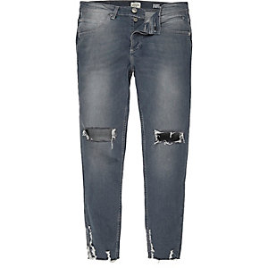 Mid blue wash ripped skinny jeans