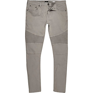 Light grey Eddy skinny biker jeans