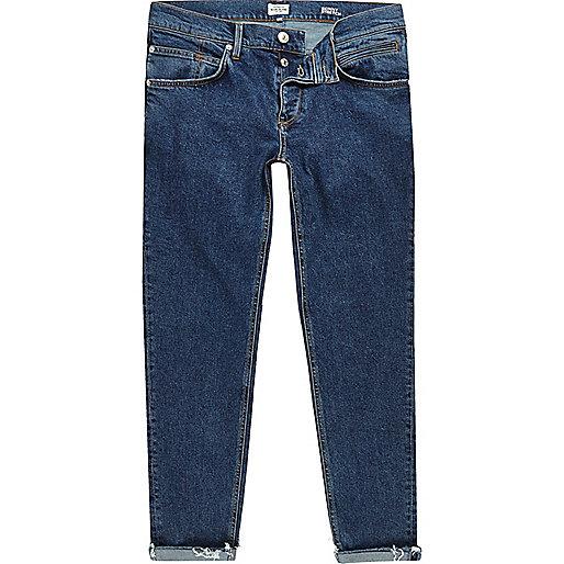 Sid – Blaue, kurz geschnittene Skinny Jeans