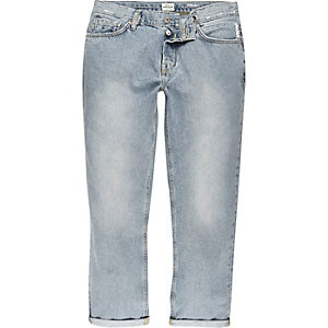 Light blue wash cropped straight jeans