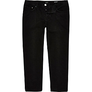 Black Dean straight cropped jeans