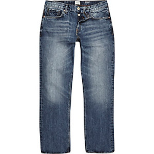 Medium blue straight jeans