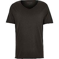 Schwarzes Slim Fit T-Shirt mit V-Ausschnitt