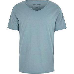 Blue scoop V-neck t-shirt