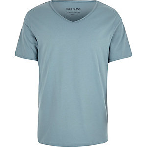 Blue scoop V-neck slim fit T-shirt
