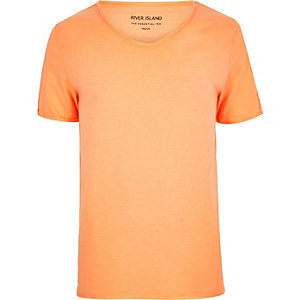 Orange scoop V-neck slim fit T-shirt