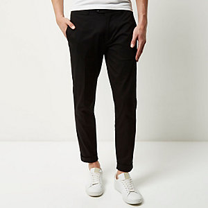 Black cropped skinny trousers