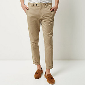 Beige cropped skinny trousers