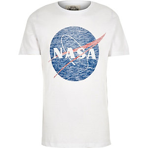 White Worn By Nasa logo print t-shirt