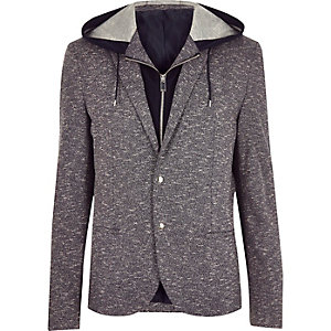 Navy hooded blazer