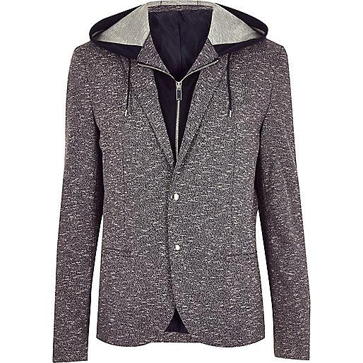 Navy hooded blazer