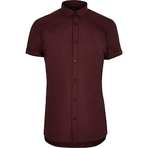 Red short sleeve slim shirt