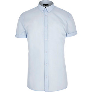 Blue short sleeve slim shirt