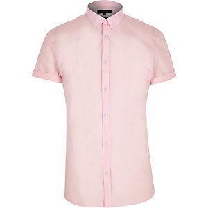 Pink short sleeve slim shirt