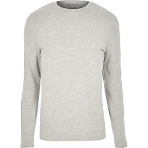 Grey marl muscle fit long sleeve T-shirt
