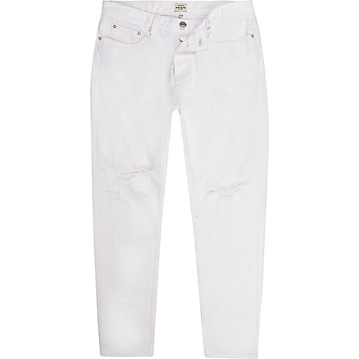 White distressed Jimmy slim tapered jeans