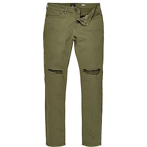 Khaki ripped Eddy skinny jeans