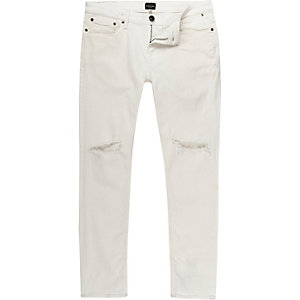 White ripped Eddy skinny jeans
