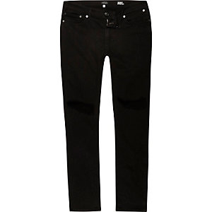 Black busted cropped jeans