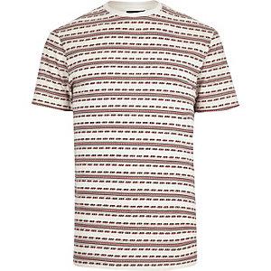 White retro jacquard t-shirt