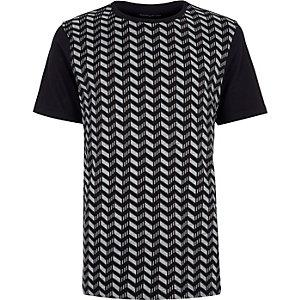 Navy printed jacquard t-shirt