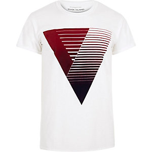 White red triangle print t-shirt