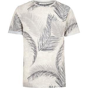 Ecru leaf print t-shirt