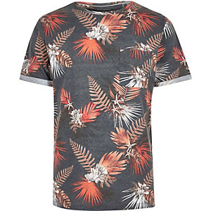 Navy tropical leaf print t-shirt