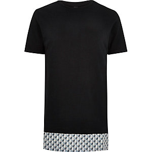 Black longline printed panel t-shirt