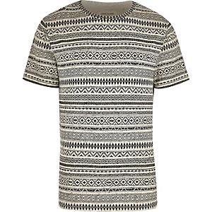 Ecru geometric print t-shirt