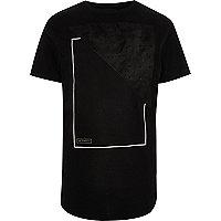 Black faux suede panel longline T-shirt