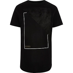 Black faux suede panel longline T-shirt