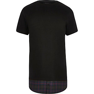 Black checked mock shirt longline t-shirt