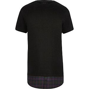 Black checked mock shirt longline t-shirt