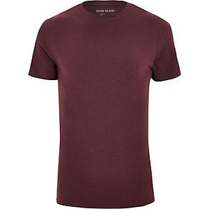 T-shirt ajusté rouge foncé