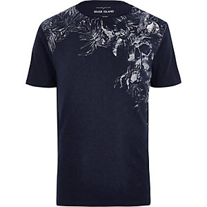 Navy floral skull print t-shirt