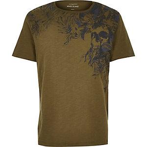 Khaki skull floral print t-shirt
