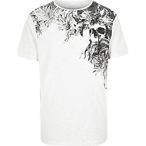White floral skull print t-shirt