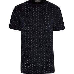 Navy micro print t-shirt