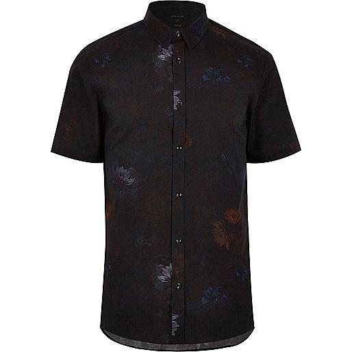 Schwarzes, schmales Hemd mit Wasserlilien-Print